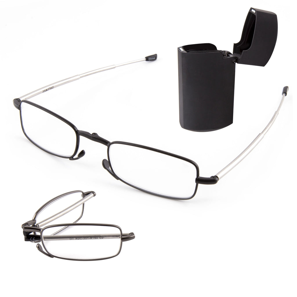 8bd0d6e616a DoubleTake 2 Pairs of Metal Compact Folding Reading Glasses with Mini Flip  Top Carrying Case for