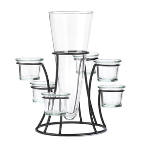 Accent Plus Circular Candle Stand With Vase - 10015367