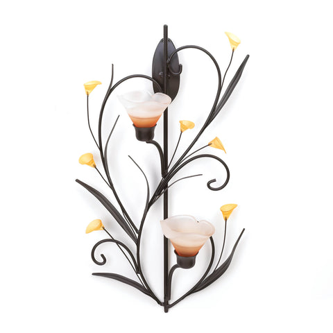 Gallery of Light Amber Lilies Candle Wall Sconce - 10015809
