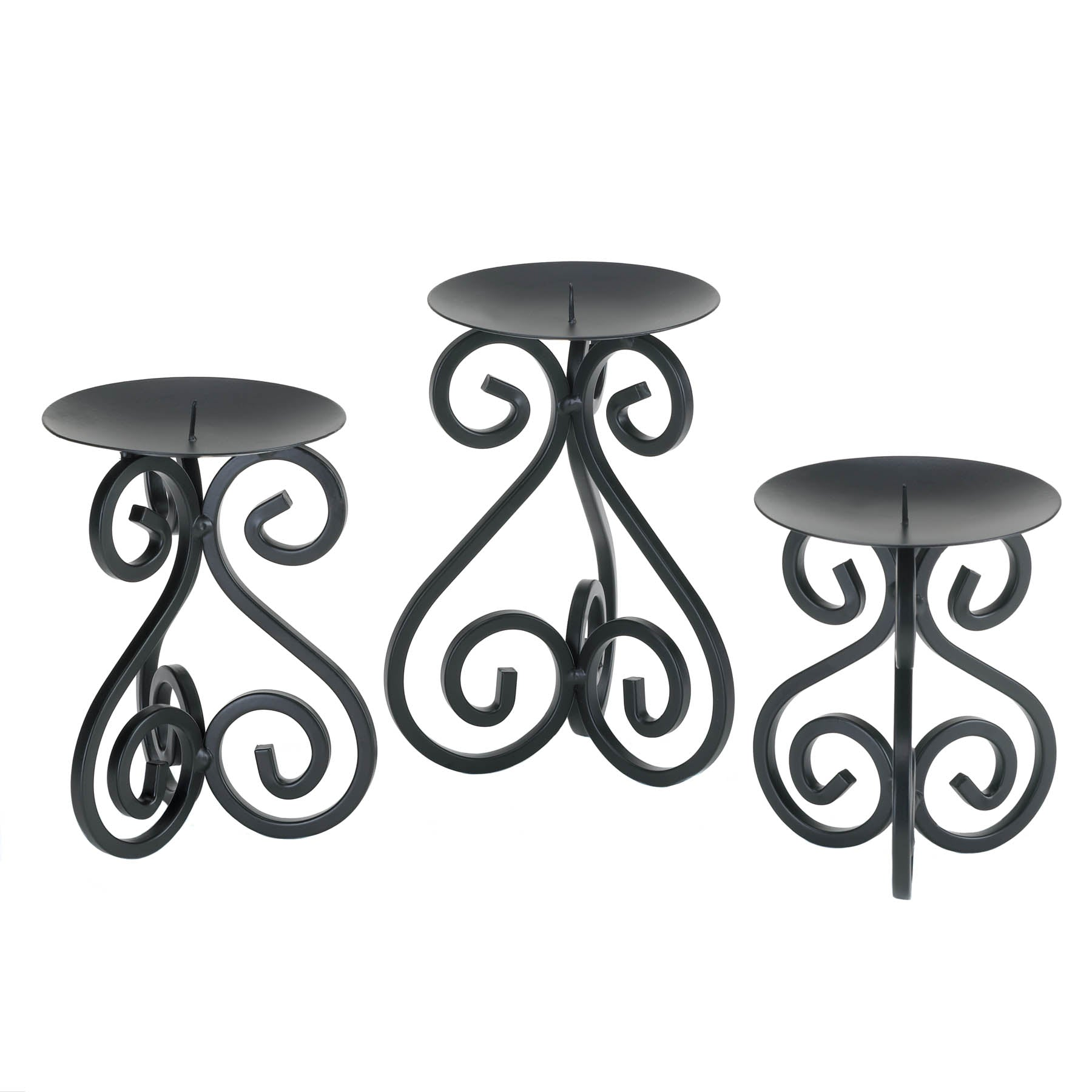 Gallery of Light Scrollwork Candle Stand Trio - 10015838