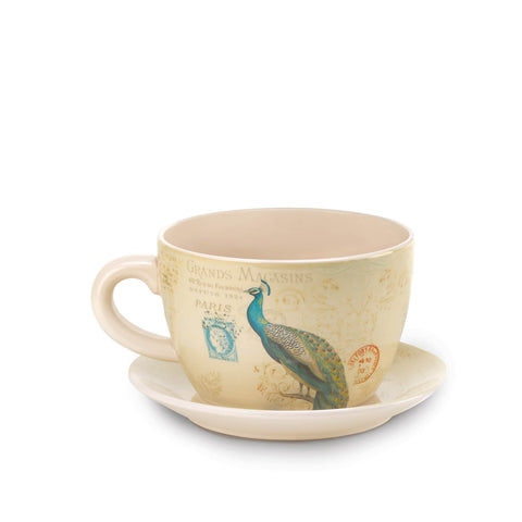 Peacock Teacup Planter