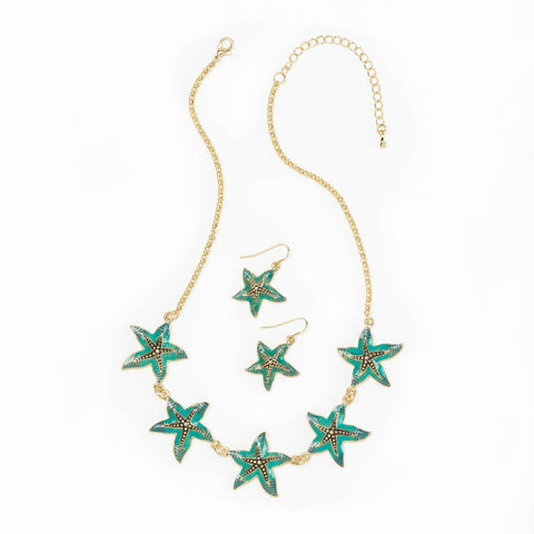 Breezy Couture Green Starfish Jewelry Set - 10016232