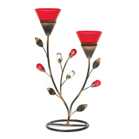 Ruby Blooms Candleholder
