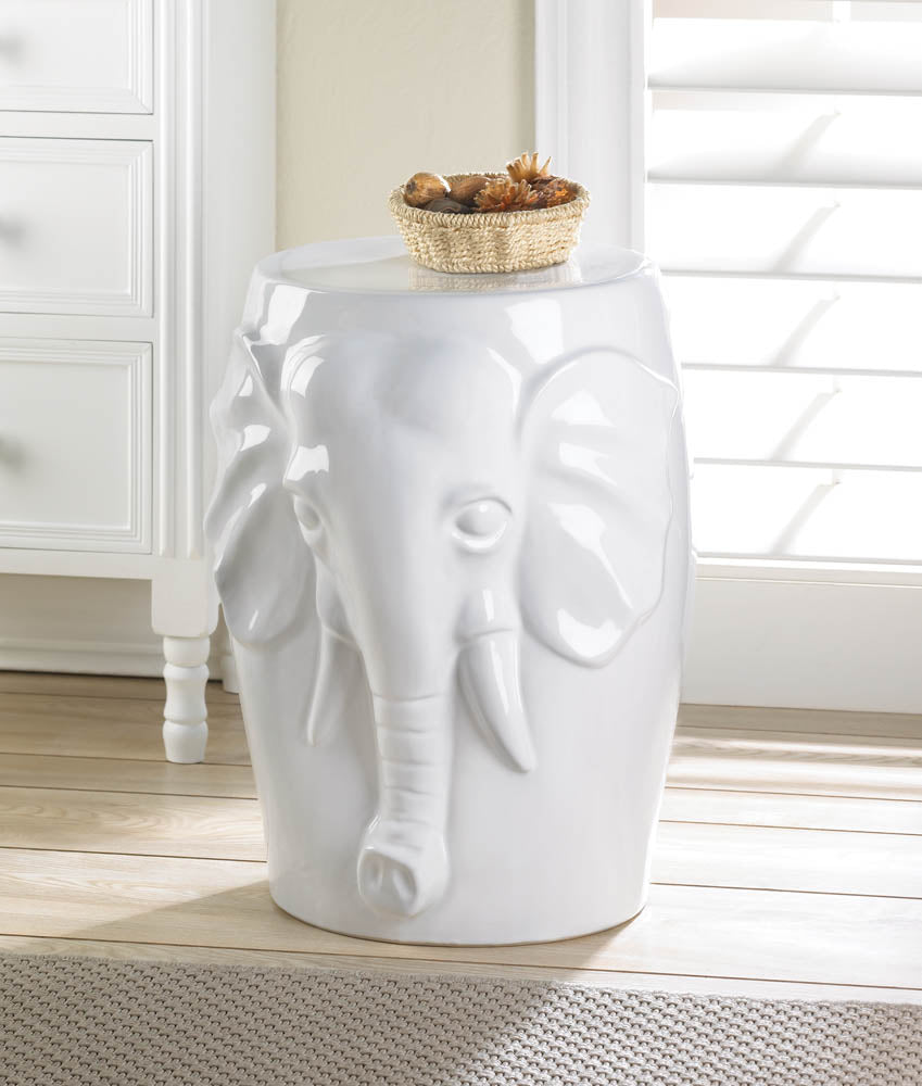 Accent Plus Elephant Ceramic Decorative Stool - 10016509