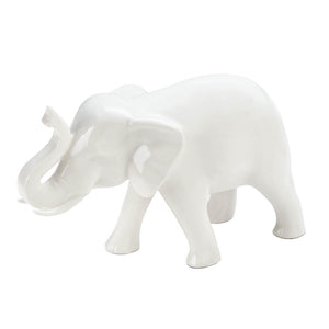 Accent Plus Sleek White Ceramic Elephant - 10017028