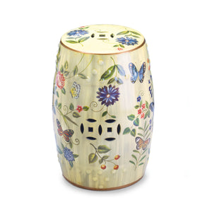 Accent Plus Butterfly Garden Ceramic Stool - 10017413