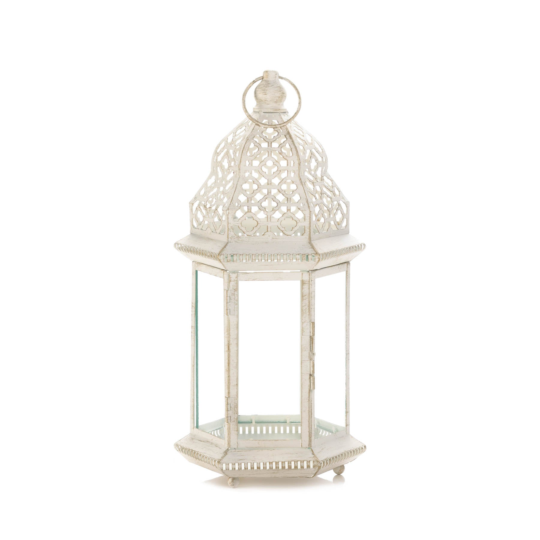Gallery of Light Sublime Distressed White Large Lantern - 10017452