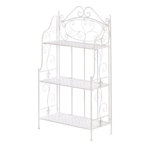 Accent Plus White Basket Weave Bakers Rack - 10017509