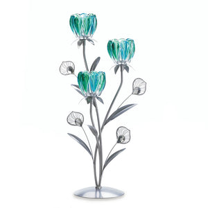 Gallery of Light Triple Peacock Bloom Candleholder - 10017547