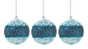 Christmas Collection True Blue Beaded Ball Ornament Trio - 10017589