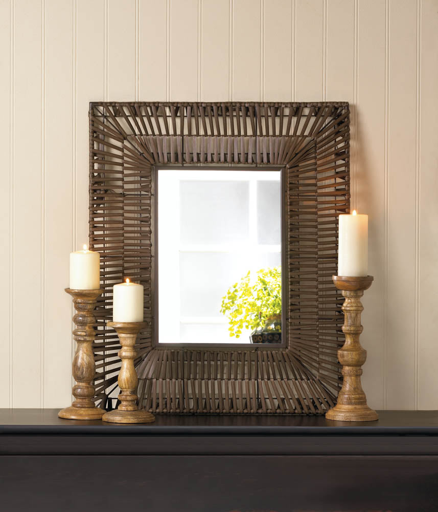 Accent Plus Faux Rattan Rectangular Wall Mirror - 10017893