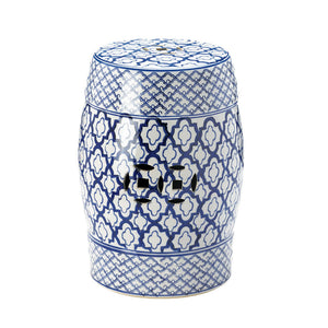 Accent Plus Blue And White Ceramic Decorative Stool - 10017922