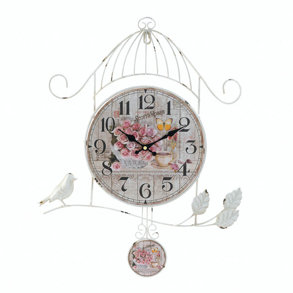 Accent Plus Birdcage Country Rose Wall Clock - 10018005