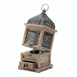 Gallery of Light Large Flip-Top Wooden Lantern - 10018058