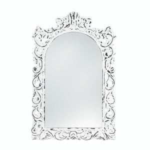 Accent Plus Distressed White Ornate Wall Mirror - 10018066
