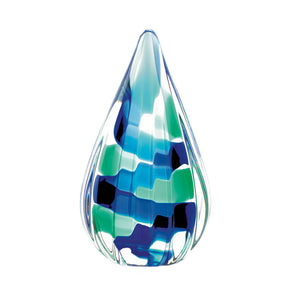 Accent Plus Pixel Blue Tear Drop Glass Art - 10018190