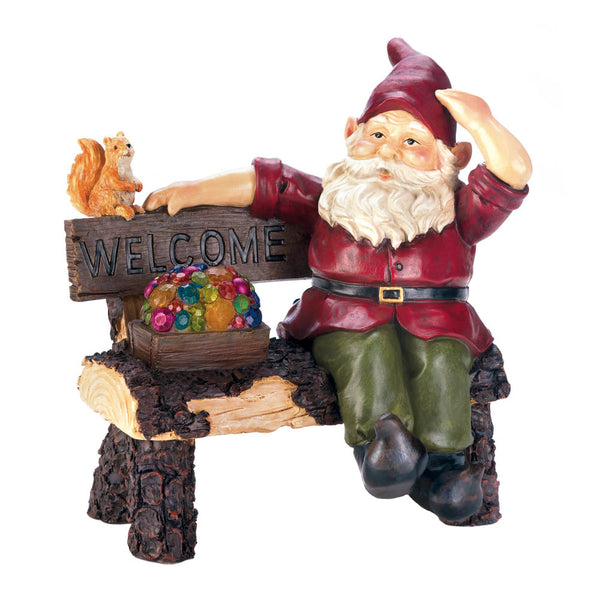 Summerfield Terrace Solar Gnome On Welcome Bench - 10018198