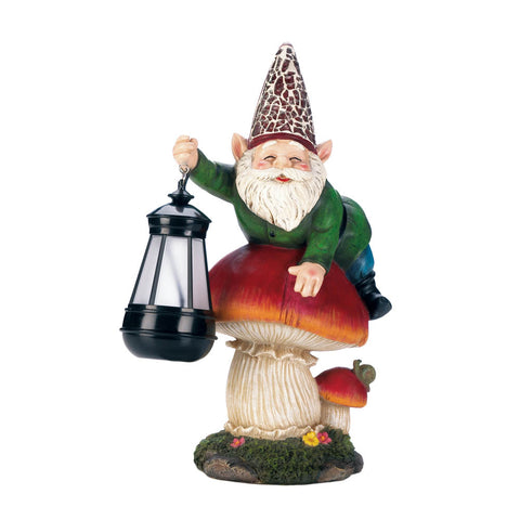 Summerfield Terrace Gnome On Mushroom Solar Statue - 10018235