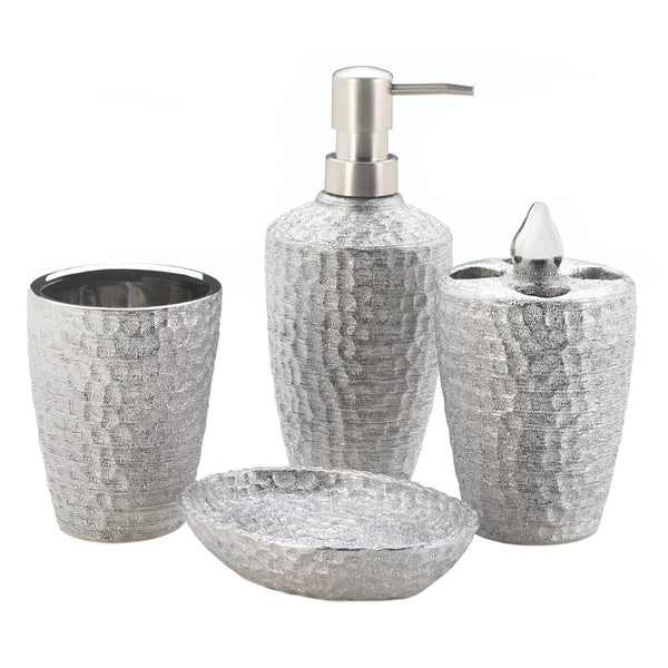 Accent Plus Hammered Silver Texture Bath Accessories - 10018258