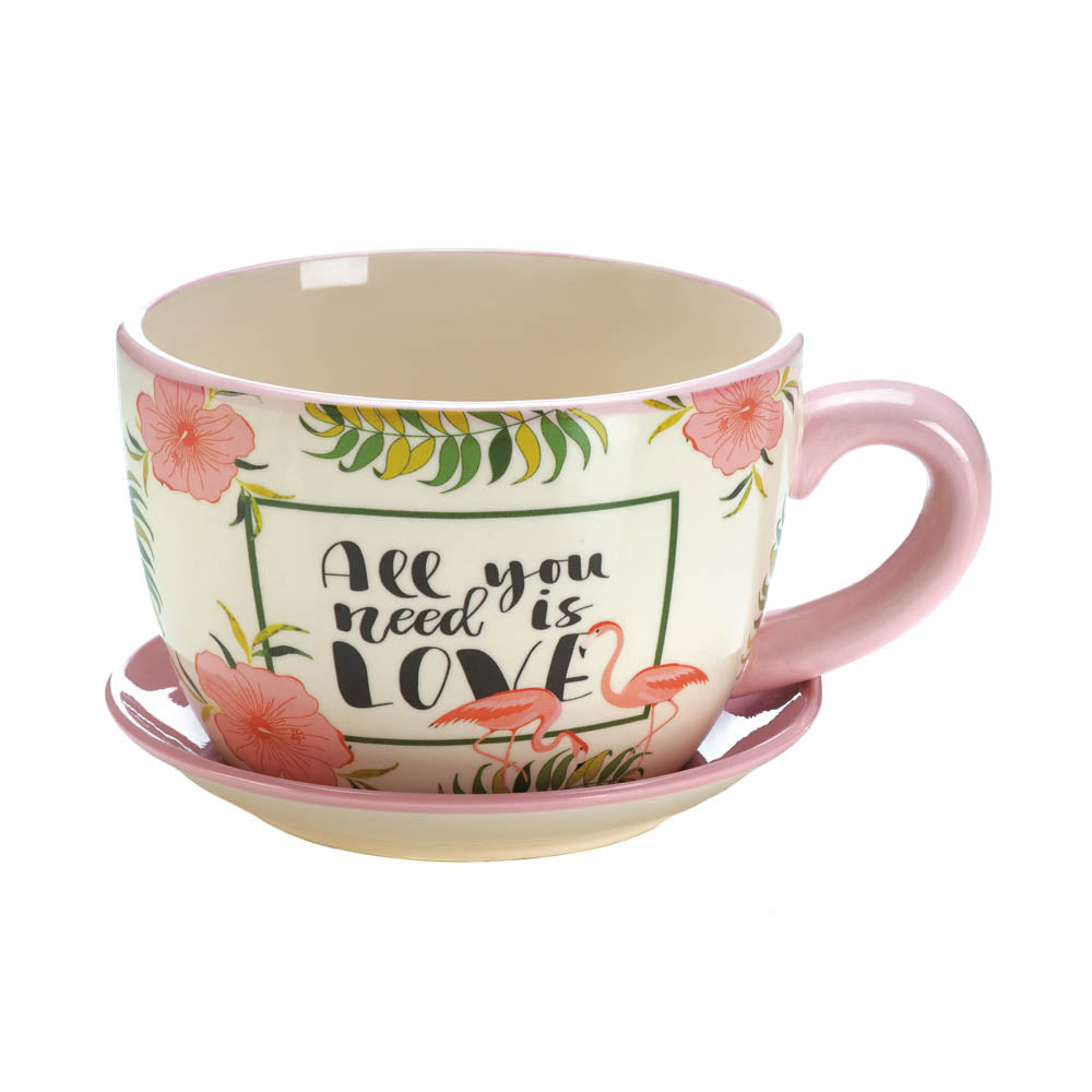 Summerfield Terrace Pink Flamingo Teacup Planter - 10018328