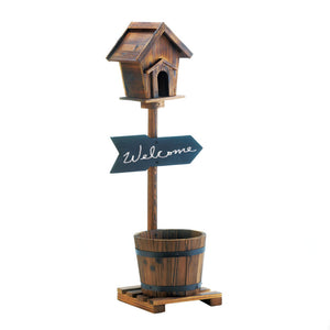 Summerfield Terrace Welcome Birdhouse Rustic Barrel Planter - 10018437