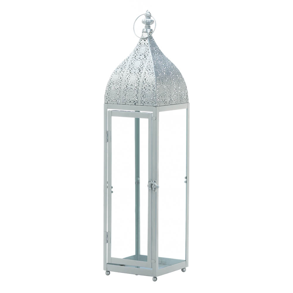 Gallery of Light Large Silver Moroccan Style Lantern - 10018512