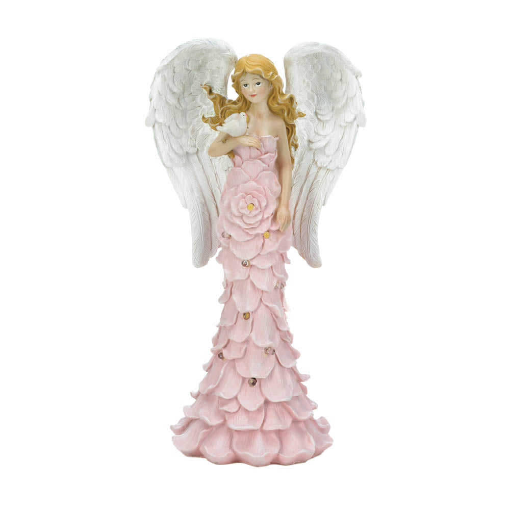 Wings of Devotion Solar Powered Pink Rose Angel Statue - 10018518