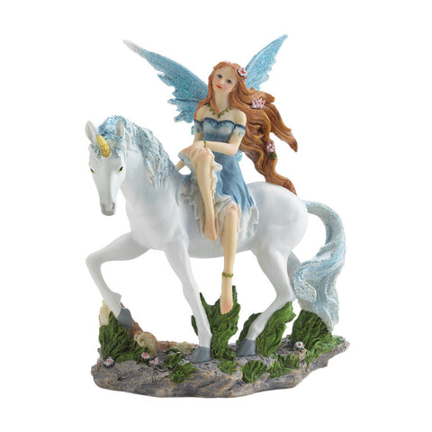 Dragon Crest Blue Fairy And Unicorn Figurine - 10018602