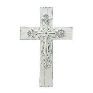 Wings of Devotion Ornate Whitewashed Cross - 10018692