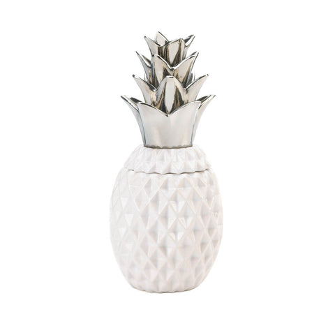 "Accent Plus 12"" Silver Topped Pineapple Jar - 10018752"