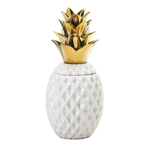 "Accent Plus 13"" Gold Topped Pineapple Jar - 10018753"