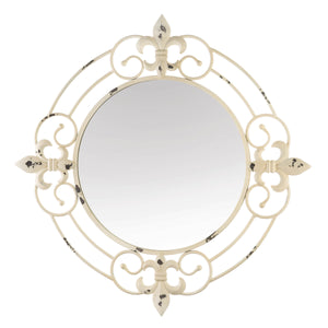 Accent Plus Antique White Fleur-De-Lis Wall Mirror - 10018769