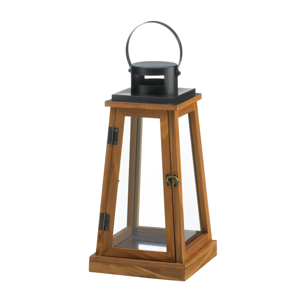 Gallery of Light Wooden Pyramid Candle Lantern - 10018825