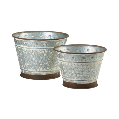 Summerfield Terrace Galvanized Metal Planter Duo - 10018834