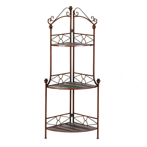 Accent Plus Rustic Corner Baker's Rack - 12517