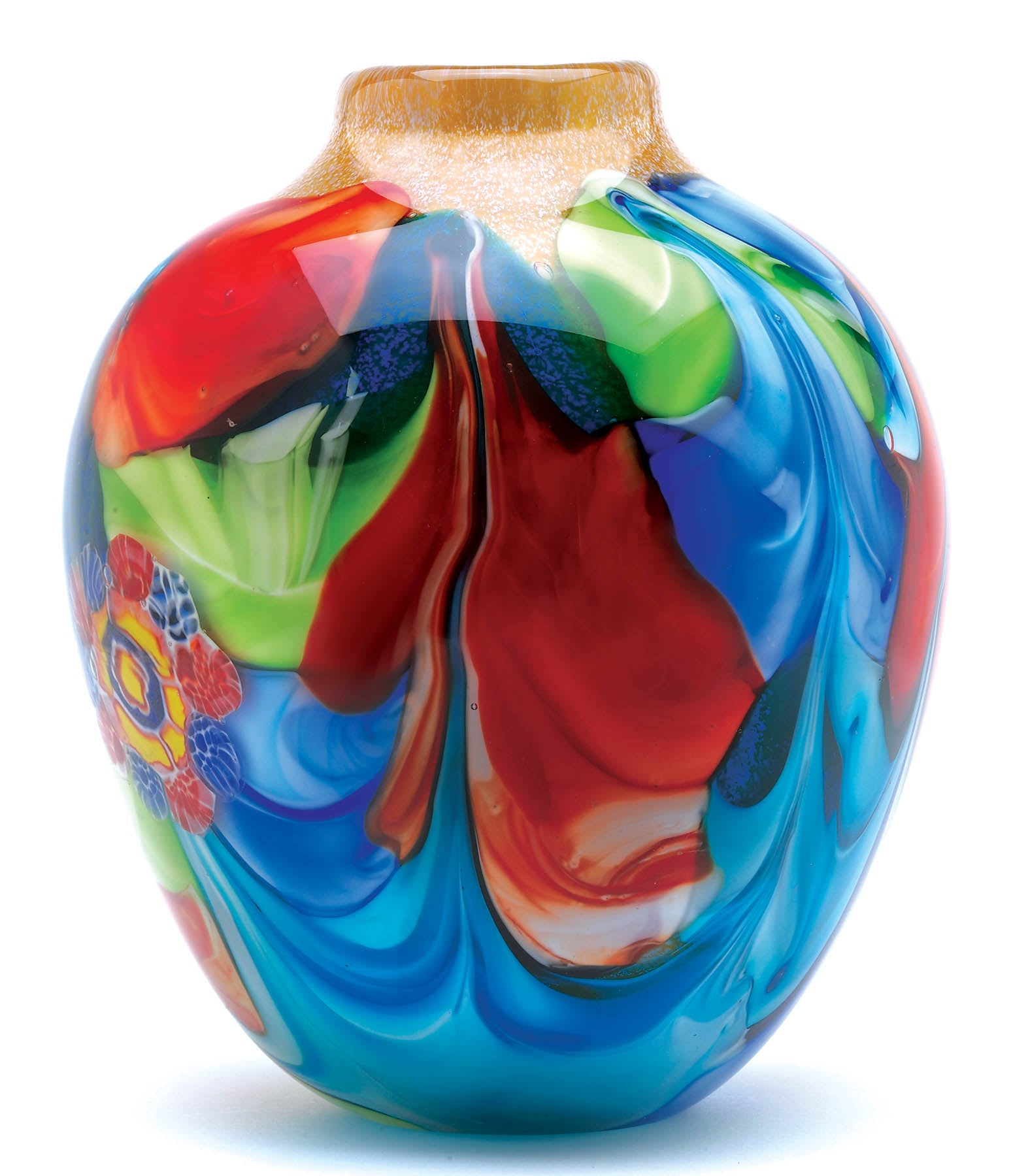 Accent Plus Floral Fantasia Art Glass Vase - 12982