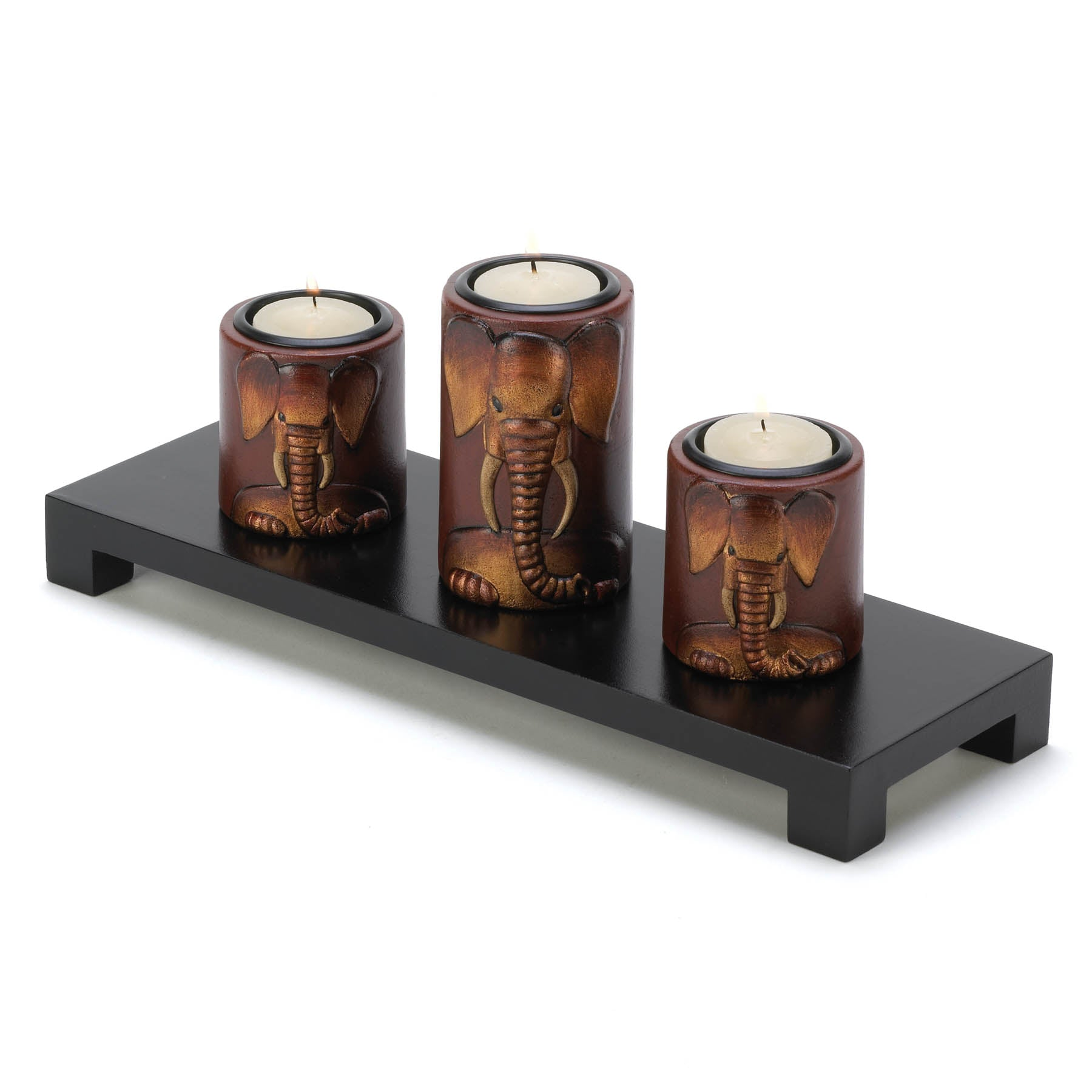 Gallery of Light Elephant Trio Candleholders - 14654