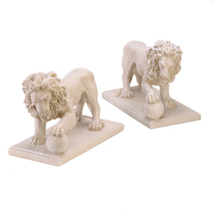 Regal Lion Statue Duo