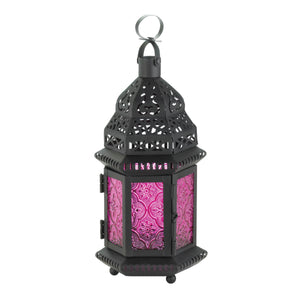 Gallery of Light Mulberry Glass Moroccan Style Lantern - 15221