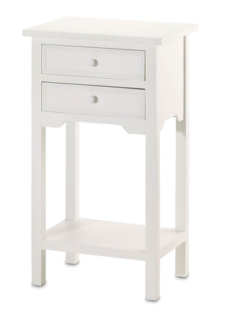 Double Drawer Single Shelf Side Table - White