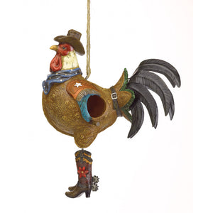 Cowboy Rooster Birdhouse