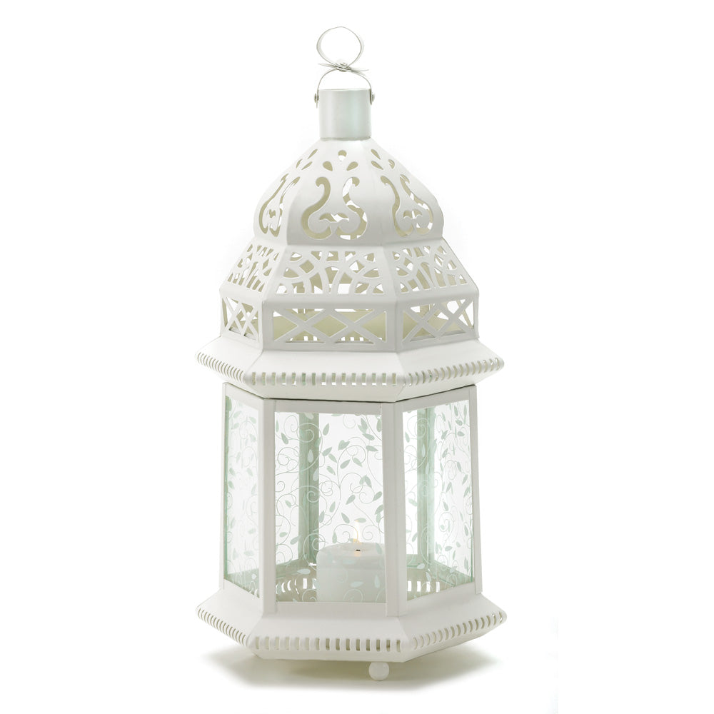 Gallery of Light Large White Moroccan Lantern - 38466