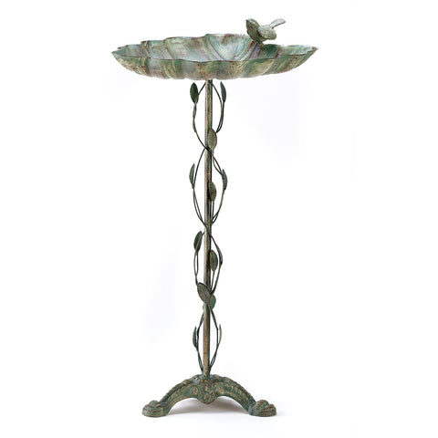Songbird Valley Verdigris Leaf Birdbath - 39448