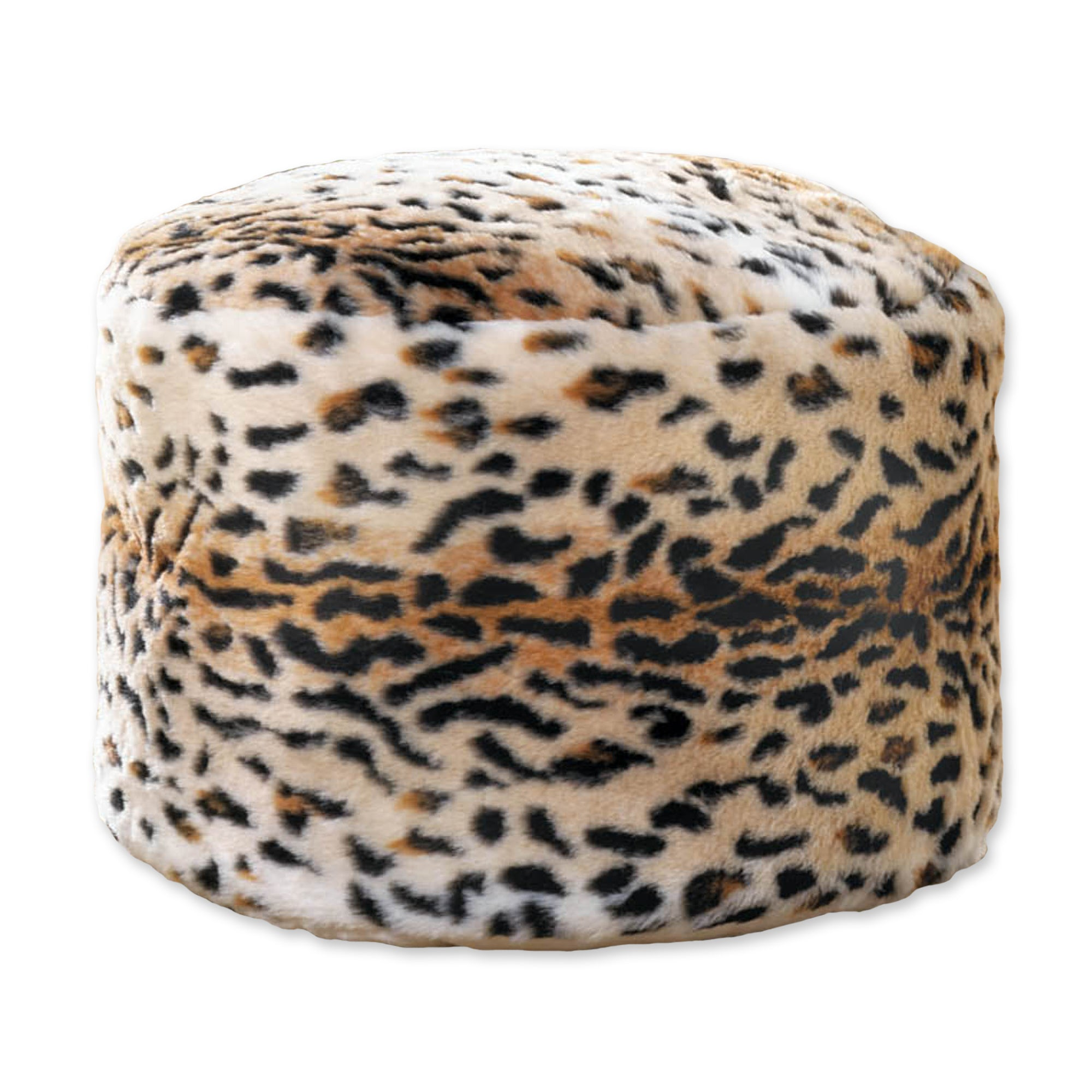 Accent Plus Snow Leopard Fuzzy Ottoman - 10018051