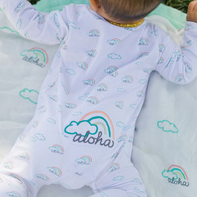 rainbow print baby coveralls coco moon hawaii