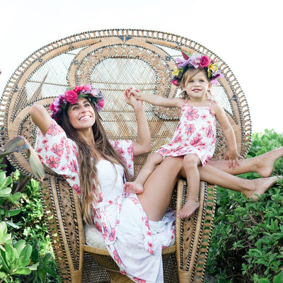 mommy and me robe and dress_pink hibiscus_coco moon hawaii