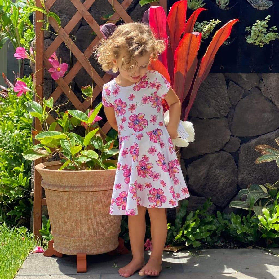toddler t-shirt dress_hibiscus print_coco moon hawaii