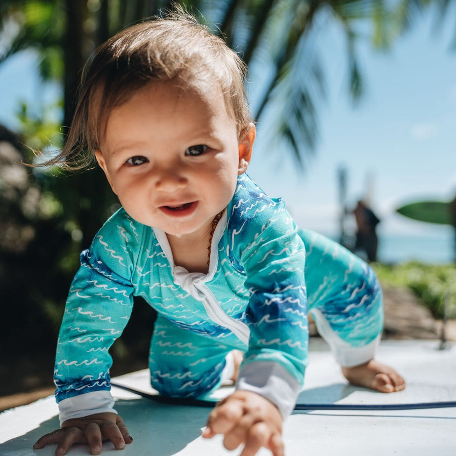 baby coverall - coco moon hawaii - blue aqua