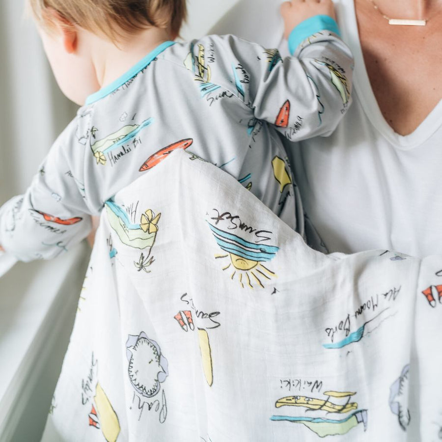 Swaddle Blanket - Surf Report Swaddle