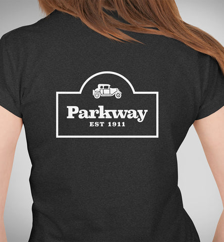 Parkway Women's Restaurant Tri-Blend T-Shirt – Charcoal Black & Gold